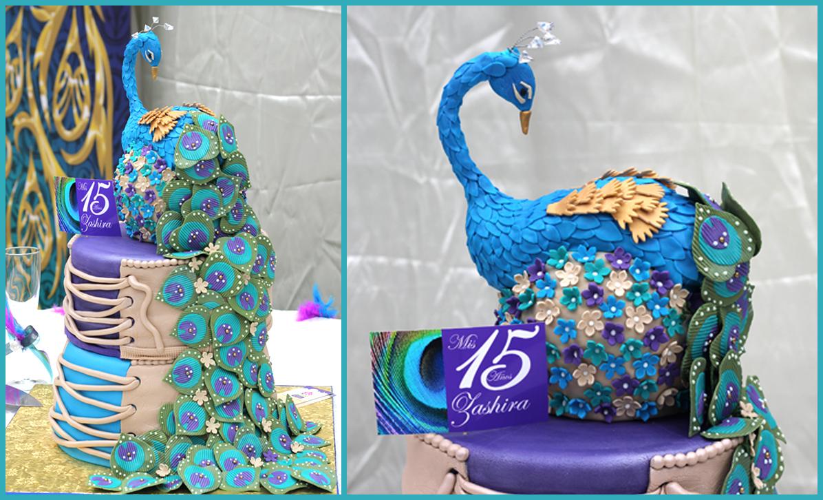 Peacock CakeQuinceanera Peacock Cake